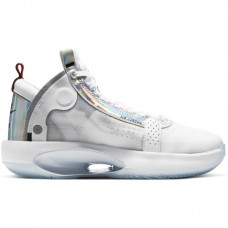Air Jordan 34 XXXIV GS White Iridescent Metallic Silver - Basketbola apavi